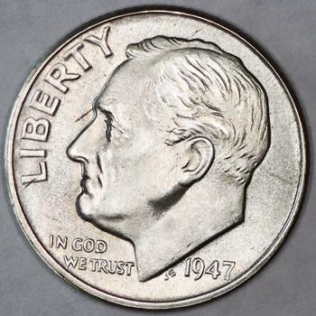 1947-D Silver High Grade Business Strike Roosevelt Dime