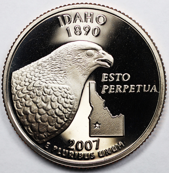2007 Deep Cameo Proof Idaho State Quarter - Extremely High Grade