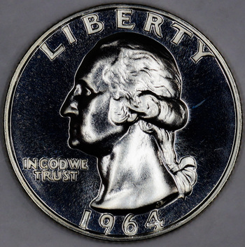 1964 Silver Gem Proof Washington Quarter - Frosted Cam Reverse - Near Full Cam