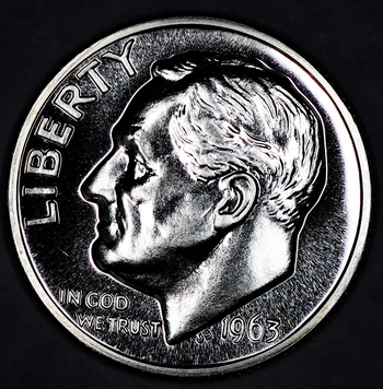 1963 Silver Gem Proof Roosevelt Dime - Deep Cameo Reverse