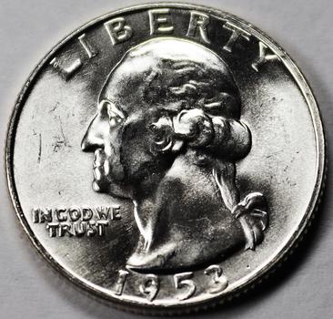 1953-D 90% Silver Very High Grade Washington Quarter