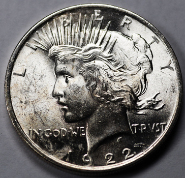 1922 Silver Extremely Lustrous Brilliant Uncirculated Peace Dollar