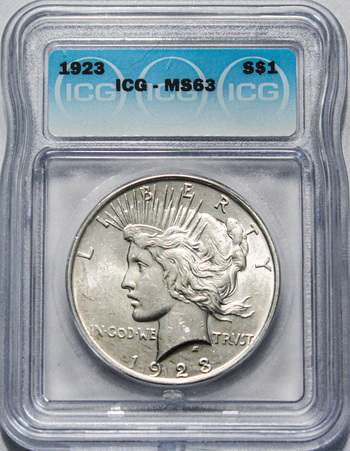 1923 Brilliant Uncirculated ICG Graded Blast White 90% Silver Peace Dollar