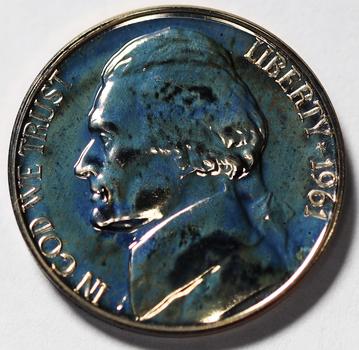 1961 Gem Proof Jefferson Nickel - Blue Hue