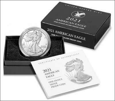 New Design 2021 W American Eagle One Ounce Silver Proof Coin Type 2 - Sold Out Instantly from US Mint