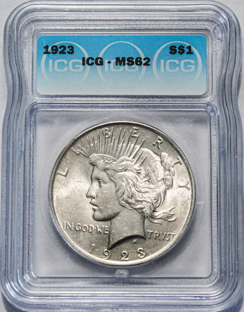 1923 ICG Graded MS62 Silver Peace Dollar