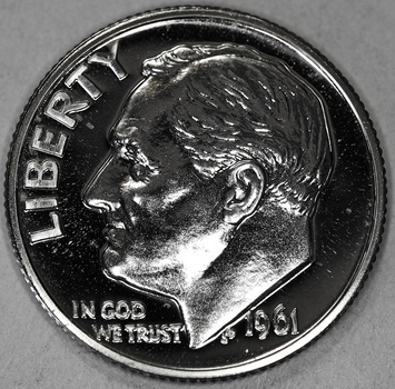 1961 Gem Proof Roosevelt Silver Dime - Poss. Cam