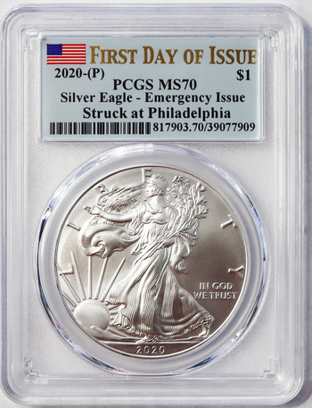 2020-P Emergency Issue Covid-19 First Day of Issue - Second Most Rare Silver Eagle Ever Produced