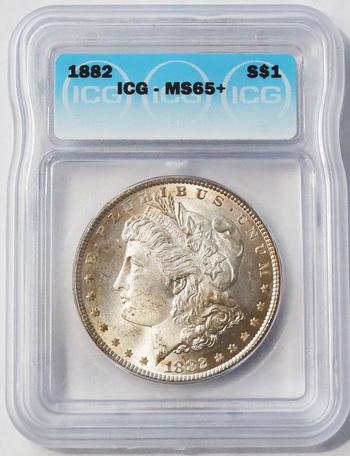 Brilliant 1882 MS65+ Uncirculated Morgan Silver Dollar
