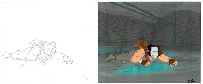 Casey Jones of (TMNT) Turtles- Original Production Cel & Drawing