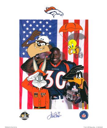 Signed Broncos -Terrel Davis - Salute Lithograph