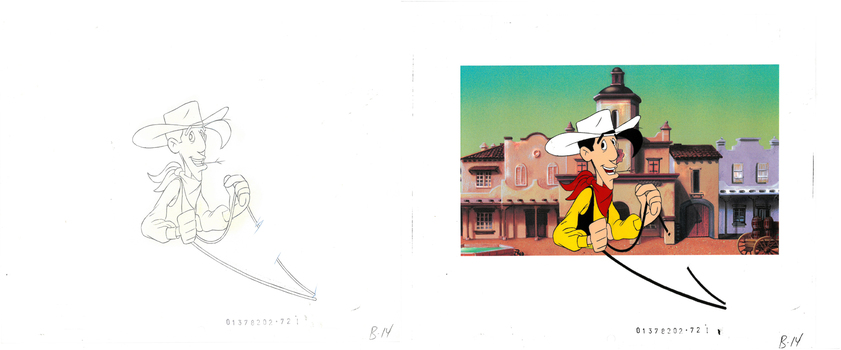 Lucky Luke - Production Cel and Drawing