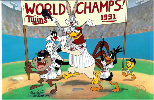 Minnesota Twins - Hand-Painted WB -Signed Cel