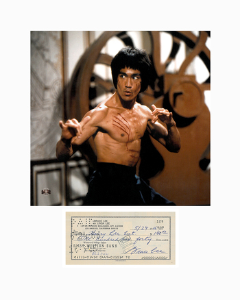 Bruce Lee Photo with Reproduction Check Matted