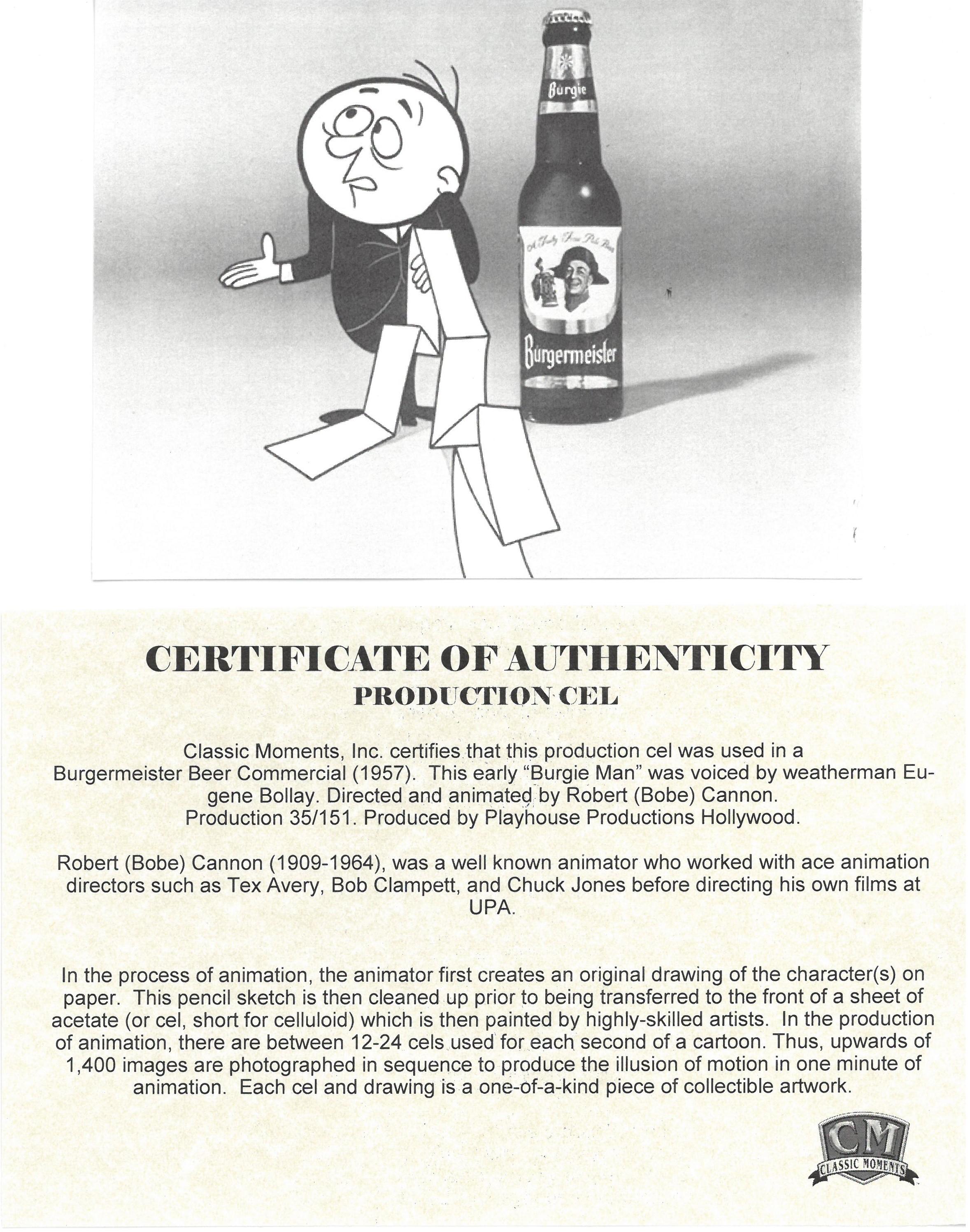 Burgie Man Original Production Cel Burgermeister Beer Property Room