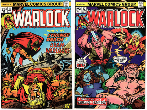 Warlock #11 (Evel Knievel ad on back cover) & #12