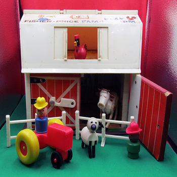 Antique Fisher Price Little People Play Family Farm Barn