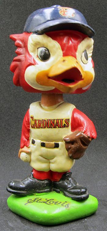 "VERY RARE:  Vintage 1960's St. Louis Cardinals Mascot Bobble-Head, 6"" tall"