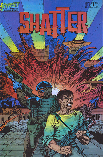 Shatter #4, 1986  First comic book series done entirely on a computer.
