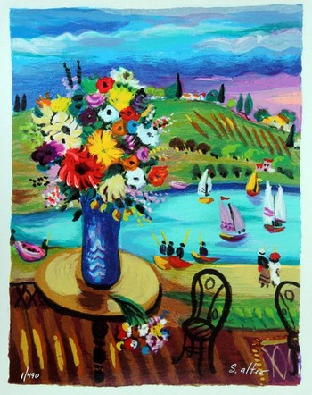 SHLOMO ALTER **FLOWERS ON THE TABLE** SIGNED SERIGRAPH