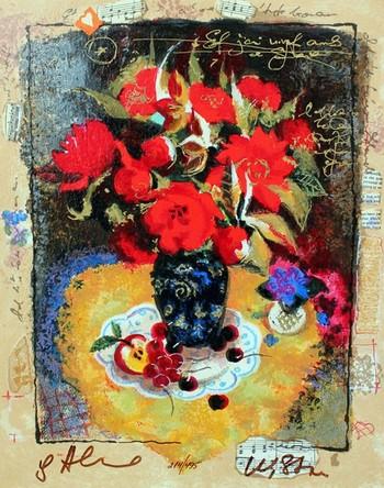 """Alexander & Wissotzky S/N Serigraph on Paper """"Season of Cherries"""""""