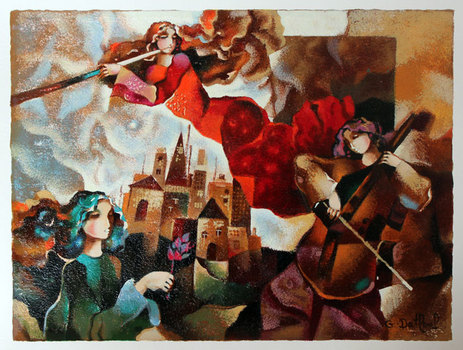 "GALINA DATLOOF S/N SERIGRAPH ON PAPER ""MUSICAL FLIGHT"""