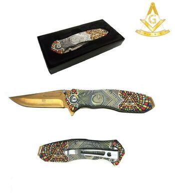 """8"""" Masonic Vintage Mosaic Pocket Knife"""