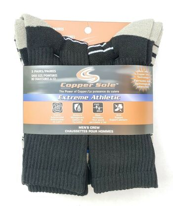 Men's Copper Sole 5 Pc Extreme Athletic Performance Socks Size 6-12