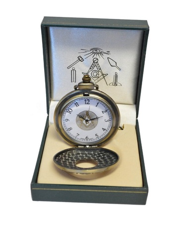 Masonic Square Bronzed Pocket Watch