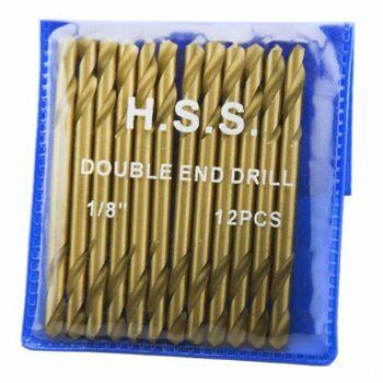 """12 pc 1/8"""" HSS Double End Titanium Power Drill Bits"""