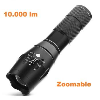 10.000 Limen Tactical LED 5 Mode Flashlight - Black