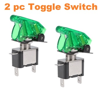 2 pc Green LED Toggle Switches