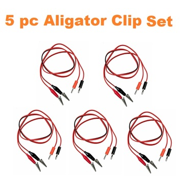 5 pc Aligator Test Probe Cables 3 ft