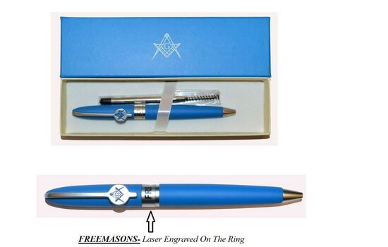 Blue Freemasons Masonic Square Ballpoint Pen Gift Set