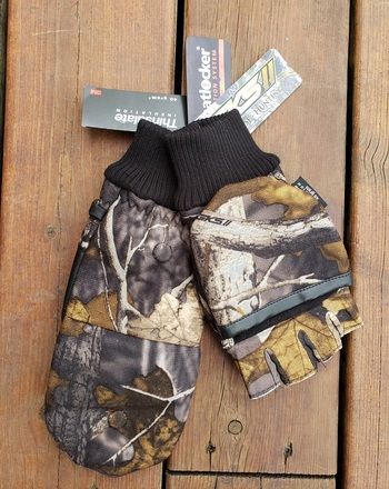 Camo Half Finger Hunting Gloves - Size M