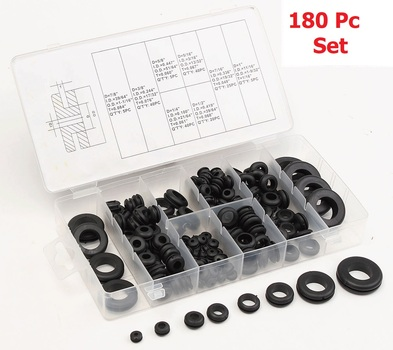 180 pc Assorted Rubber Grommets