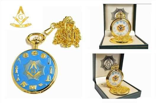 Freemasons Blue Enamel Pocket Watch