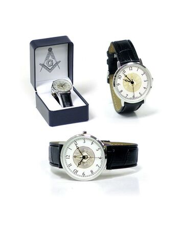 Masonic Watch Leather Band Gold Tone Freemasons
