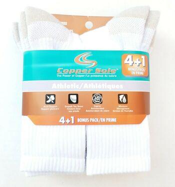 5 Pair Copper Sole Ladies Performance Socks Size 4-10 White