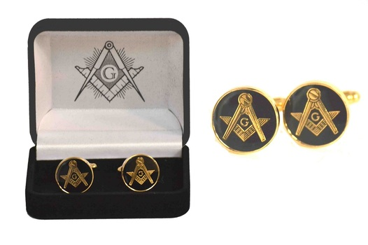 Masonic Square and Compass Round Cufflinks