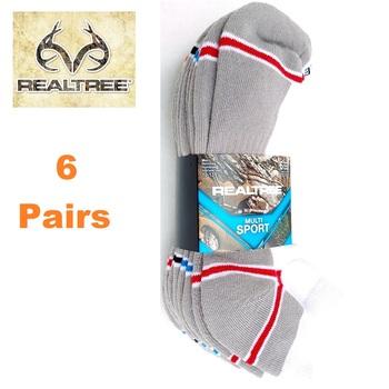 6 Pair Realtree Low Cut Performance Socks - Gray