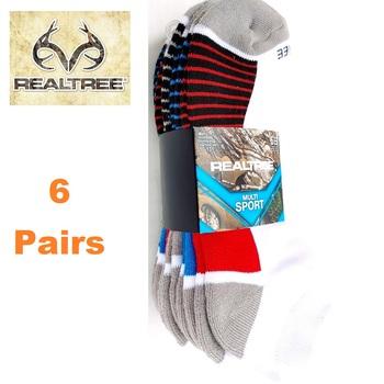 6 Pair Realtree Low Cut Performance Socks -Stripe Gray