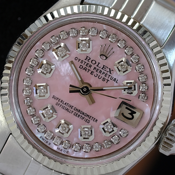 Rolex Vintage Womens Datejust 26mm Pink MOP Diamond Dial Fluted Bezel Watch-Preowned