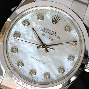 Rolex Oyster Perpetual Unisex Airking SSteel White MOP Diamond Dial Oyster Band-Preowned