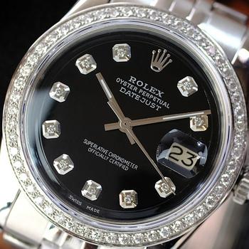 Rolex Men's 36mm Watch Datejust Stainless Steel Black Diamond Dial Diamond Bezel-Preowned