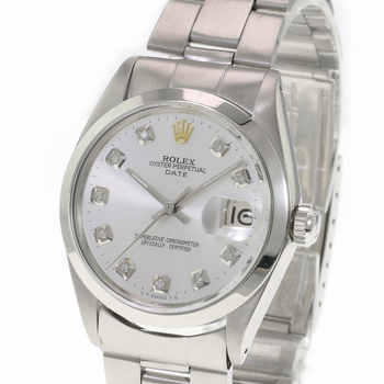 Rolex Oyster Perpetual Date Stainless Steel Silver Diamond Dial 34mm Watch-Preowned