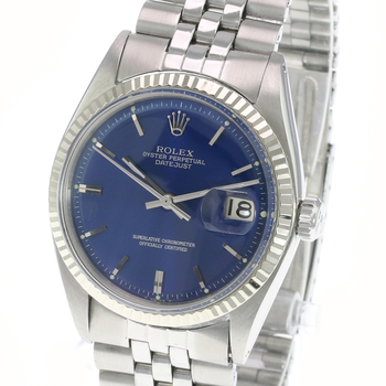 Rolex Datejust Mens Stainless Steel Blue Dial Fluted Bezel 36mm Watch-Preowned