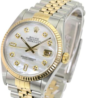 Rolex Mens Datejust 2tone White MOP Diamond Dial Fluted Bezel 36mm-PREOWNED