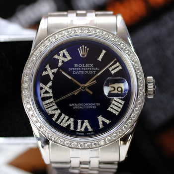 Rolex Mens Datejust Blue Roman Diamond Dial Diamond Bezel 36mm-Preowned