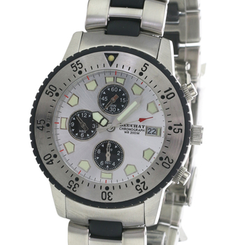 Swiss Made BEUCHAT Divers Watch Sillage Silver Luminous Dial Stainless steel